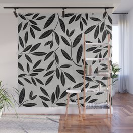 Black & White Plant Leaves Pattern Wall Mural