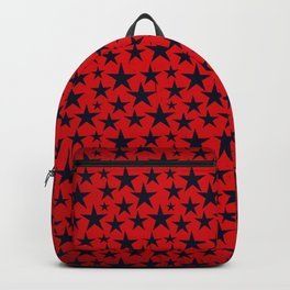 Dark stars on grunge textured bold red background Backpack