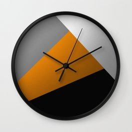 Metallic I - Abstract, geometric, metallic textured gold, silver and black metal effect artwork Wall Clock