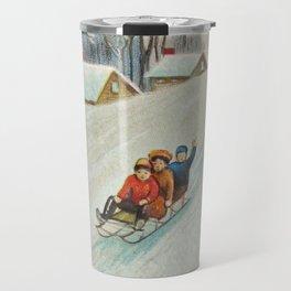 Happy vintage winter sledders Travel Mug