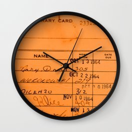 Library Card 23322 Orange Wall Clock