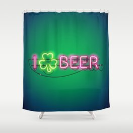 I Like Beer Neon Sign Shower Curtain