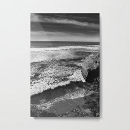 Monochrome Sunset Cliffs Metal Print