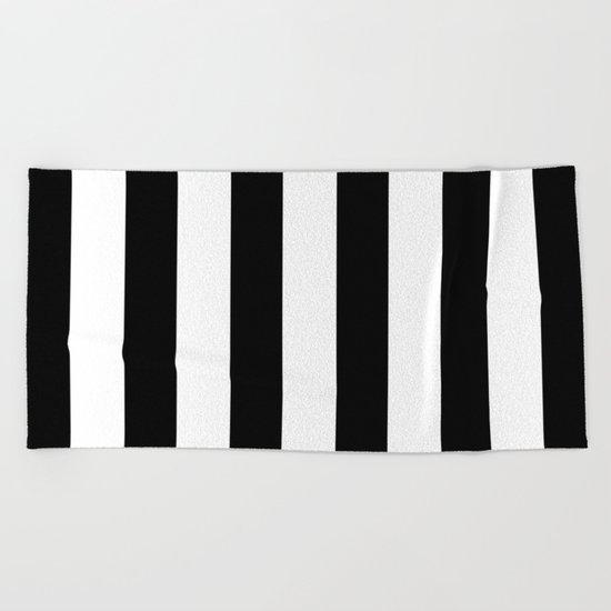 Simply Vertical Stripes in Midnight Black Beach Towel