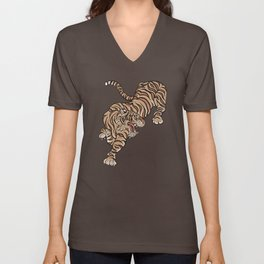 Tiger in Asian Style Unisex V-Neck
