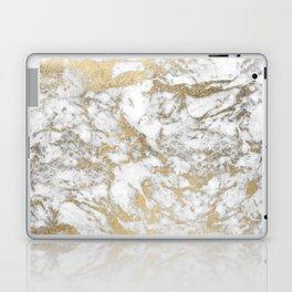 Modern chic faux gold white elegant marble Laptop & iPad Skin
