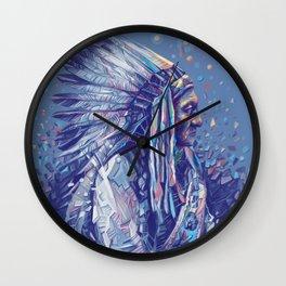 native american portrait-sitting bull Wall Clock