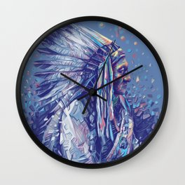 native american portrait-sitting bull Wall Clock