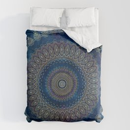 Blue Detailed Mandala Esoteric Pattern Comforters