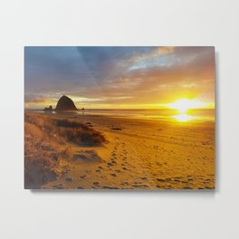 Cannon Beach Oregon at Sunset Haystack Rock Metal Print