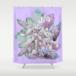 GLITTERING GREEN & PURPLE QUARTZ CRYSTALS ART Shower Curtain