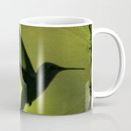 Neon Green Hummingbird behind the blinds Coffee Mug