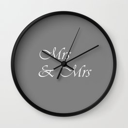 Mrs & Mrs Monogram Gray Cursive Wall Clock