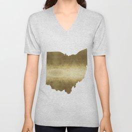 ohio gold foil state map Unisex V-Neck