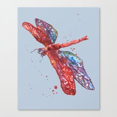Blue Rainbow Dragonfly Canvas Print