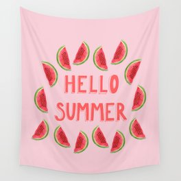 Hello Summer Watercolor Handlettered Painting - Pink Background Wall Tapestry