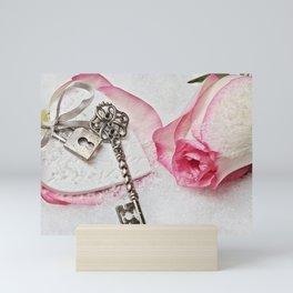 Romantic Vintage Rose and Key Mini Art Print