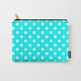 Small Polka Dots - White on Aqua Cyan Carry-All Pouch