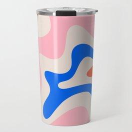 Retro Liquid Swirl Abstract Pattern Square Pink, Orange, and Royal Blue Travel Mug
