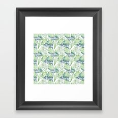 Tropical Green Blue Watercolor Leaves Framed Art Print