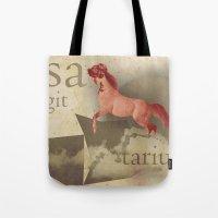 sagittarius Tote Bags featuring sagittarius by Rosa Picnic