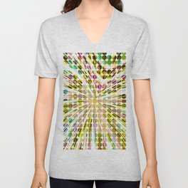 geometric circle abstract pattern in yellow pink blue Unisex V-Neck