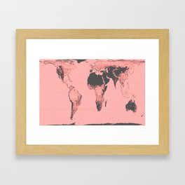 World Map: Gall Peters Pink Framed Art Print
