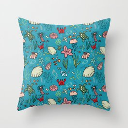 Beach and underwater pattern - fish and turtles and sea shells, oh my! Throw Pillow