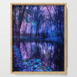 Enchanted Forest Lake Purple Blue Serving Tray