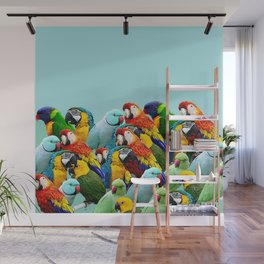 Sky blue parrots home decor Wall Mural