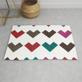 leather geometric love on white Rug