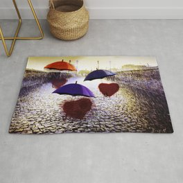 Three Lonely Hearts In the Rain Rug