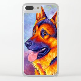 Colorful German Shepherd Dog Clear iPhone Case