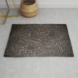 Distressed Smoky Tooled Leather Rug