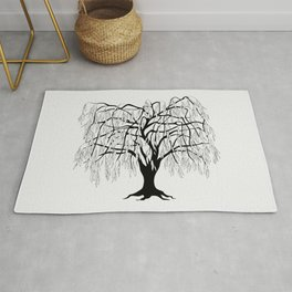 weeping willow on the gray background Rug