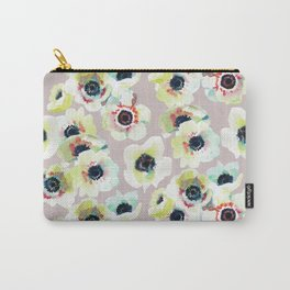 Seamless pattern with a watercolor anemone flowers on a dusty pink background Carry-All Pouch