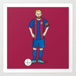 Lionel Messi - Red Art Print