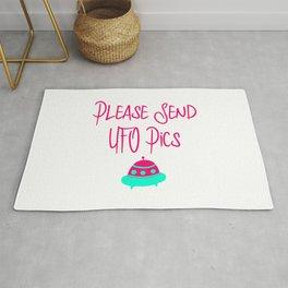 Please Send UFO Pics Fun Alien Space Quote Rug