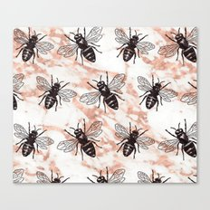Bees on rose gold marble Canvas Print