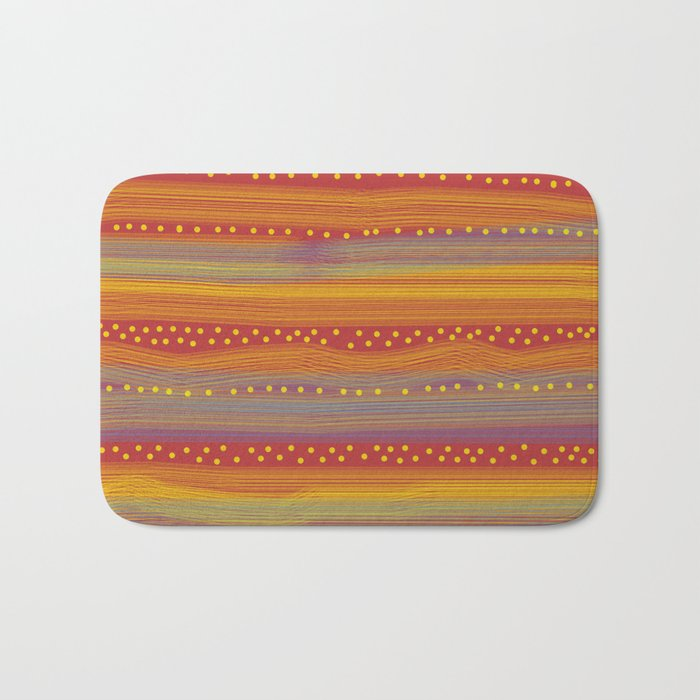 Red with Stripes and Dots Bath Mat