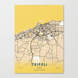 Tripoli Yellow City Map Canvas Print