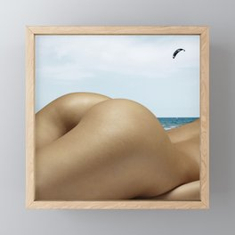 Nude Sunbathing on the Beach Framed Mini Art Print