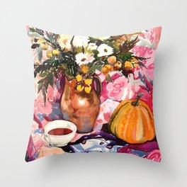 Autumn Still-Life with Pumpkin and Bouquet Throw Pillow