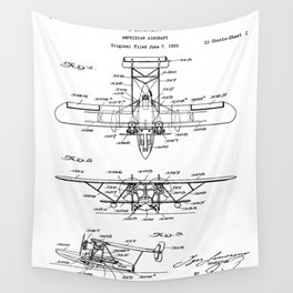 Seaplane Patent - Biwing Seaplane Art - Black And White Wall Tapestry