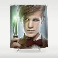 doctor Shower Curtains featuring DOCTOR WHO - 11th Doctor  by Kayla Theodorou