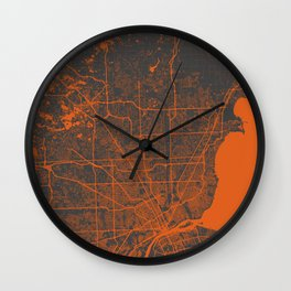 Detroit map orange Wall Clock