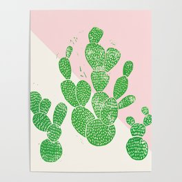 Linocut Cacti Family Poster