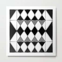 Shiny diamonds in black and white. Geometric abstract. Metal Print