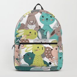 Easter rabbits pattern, sweet bunnies Backpack