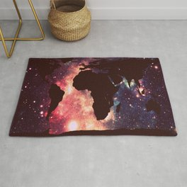 World Map : Mauve Teal Galaxy Stars Rug